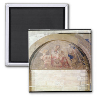 Tympanum depicting the Virgin of Humility 2 Inch Square Magnet