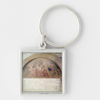 Tympanum depicting the Virgin of Humility Silver-Colored Square Keychain