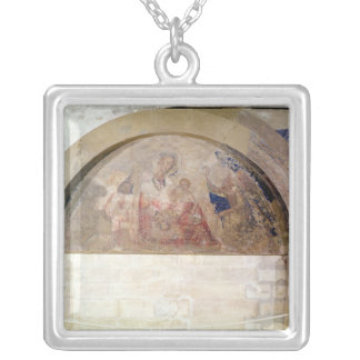 Tympanum depicting the Virgin of Humility Square Pendant Necklace