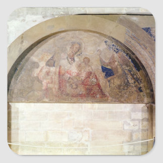 Tympanum depicting the Virgin of Humility Square Sticker