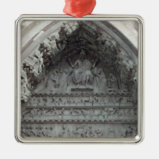 Tympanum from the left portal square metal christmas ornament