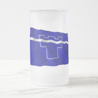 Tyne and Wear Waving Flag Frosted Glass Beer Mug