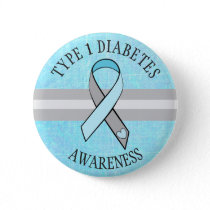 Type 1 Diabetes Awareness Blue Gray Button
