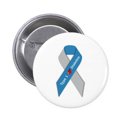 Type 1 Diabetes Awareness Ribbon Button