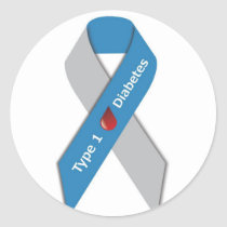 Type 1 Diabetes Awareness Ribbon Classic Round Sticker