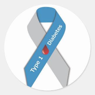 Type 1 Diabetes Awareness Ribbon Classic Round Sticker