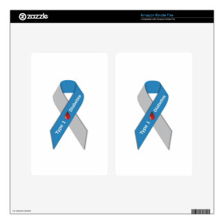 Type 1 Diabetes Awareness Ribbon Decals For Kindle Fire