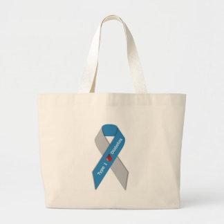 Type 1 Diabetes Awareness Ribbon Large Tote Bag
