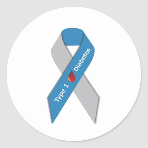 Type 1 Diabetes Awareness Ribbon Round Stickers
