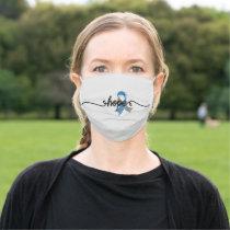 Type 1 Diabetes Blue Ribbon Awareness Cloth Face Mask