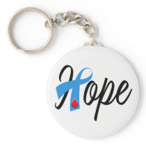 Type 1 Diabetes Blue Ribbon Awareness HOPE Keychain