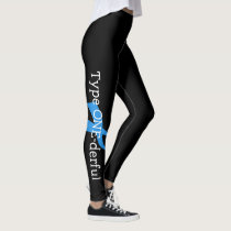 Type 1 Diabetes Blue Ribbon Awareness HOPE Leggings