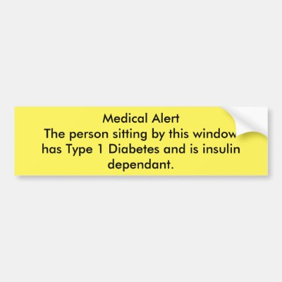 Type 1 diabetes awareness bumper sticker zazzle com