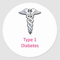 Type 1 Diabetes pink Classic Round Sticker