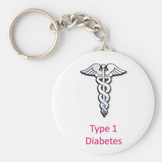 Type 1 Diabetes pink Keychain