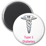 Type 1 Diabetes pink Refrigerator Magnets
