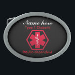 """Type 1 Diabetic Insulin Dependent Alert Belt Buckle<br><div class=""""desc"""">Make sure of your safety with this Type 1 Diabetic Insulin Dependent Alert belt buckle. Just fill in the name to personalize..</div>"""