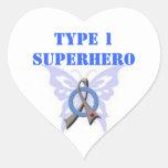 Type 1 Superhero Heart Shaped Stickers