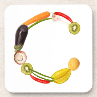 """type character """"C"""" OF fruits and vegetables Drink Coasters"""