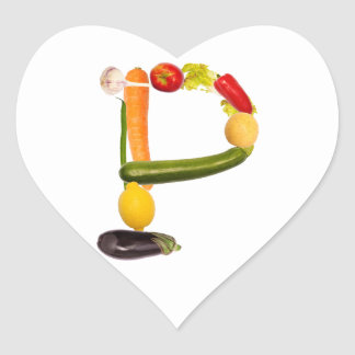 "type character ""P"" OF fruits and vegetables Heart Sticker"