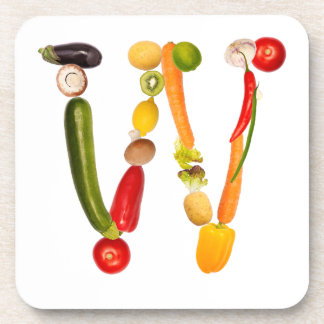 """type character """"W"""" OF fruits and vegetables Beverage Coaster"""