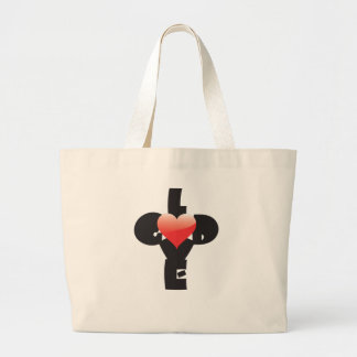 Type design of words God/Love in shape of a cross. Bags