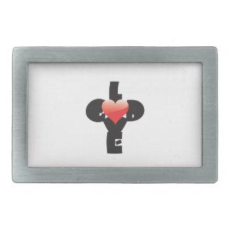 Type design of words God/Love in shape of a cross. Rectangular Belt Buckle