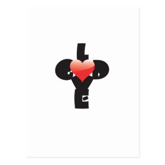 Type design of words God/Love in shape of a cross. Postcard