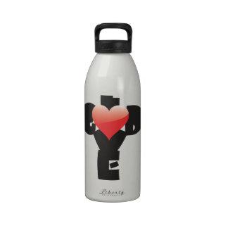 Type design of words God/Love in shape of a cross. Drinking Bottles