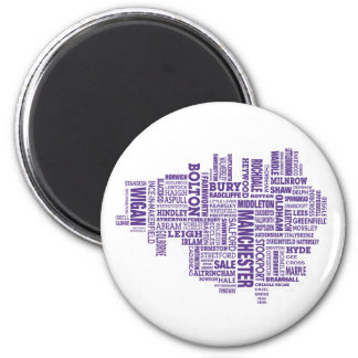 Type map of Greater Manchester 2 Inch Round Magnet