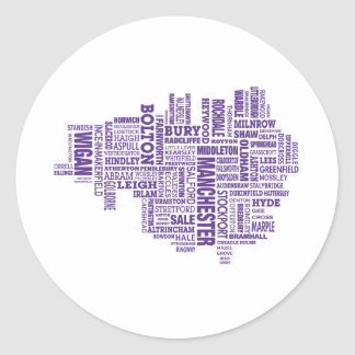 Type map of Greater Manchester Classic Round Sticker