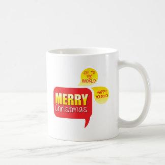 Type Merry Christmas Joy to the World and Happy Ho Coffee Mug