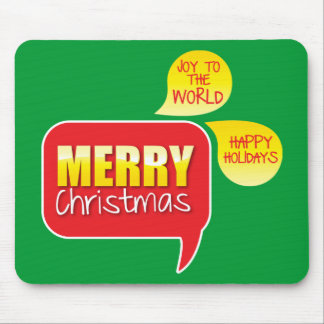 Type Merry Christmas Joy to the World and Happy Ho Mousepad