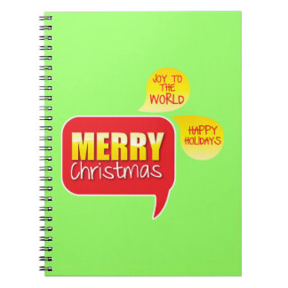 Type Merry Christmas Joy to the World and Happy Ho Notebook