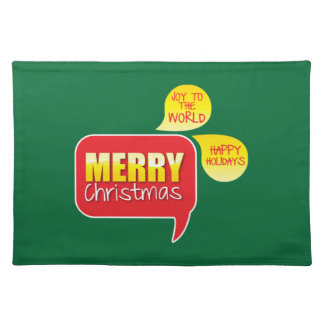 Type Merry Christmas Joy to the World and Happy Ho Placemat