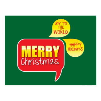 Type Merry Christmas Joy to the World and Happy Ho Postcard