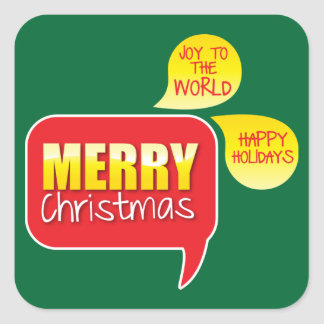 Type Merry Christmas Joy to the World and Happy Ho Square Sticker