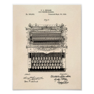 Type Writing Machine 1896 Patent Art Old Peper Poster
