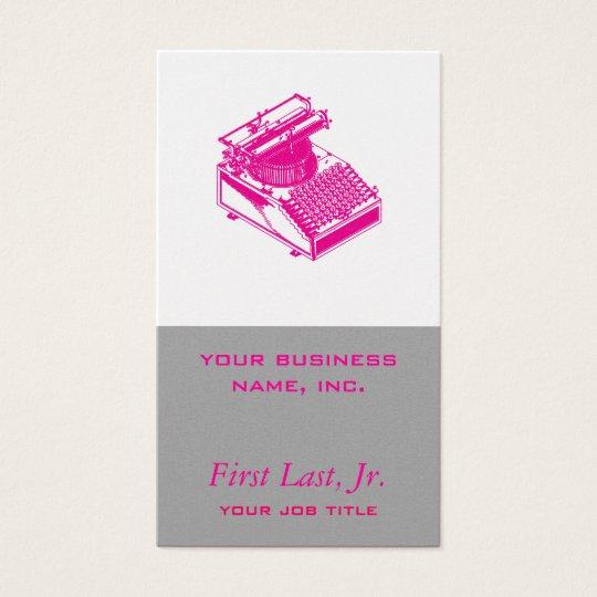 Type Writing Machine - Magenta Writer typewriter Business Card