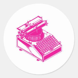 Type Writing Machine - Magenta Writer typewriter Classic Round Sticker
