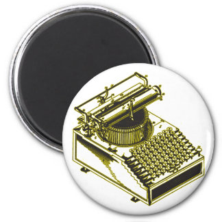 Type Writing Machine Patent Illustration 2 Inch Round Magnet