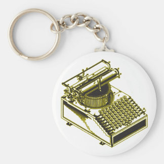 Type Writing Machine Patent Illustration Basic Round Button Keychain