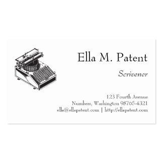Type Writing Machine Patent Illustration Business Card