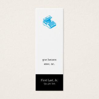 Type Writing Machine Patent Illustration Cyan Mini Business Card