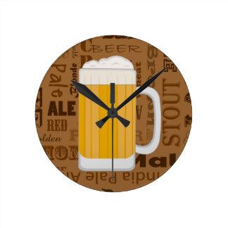 Types of Beer Series Print 1 Round Clocks