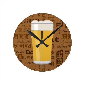 Types of Beer Series Print 2 Round Clock