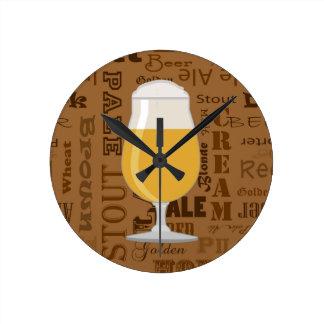 Types of Beer Series Print 4 Round Wall Clock