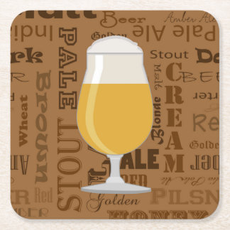 Types of Beer Series Print 4 Square Paper Coaster