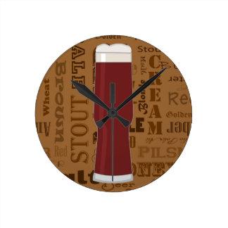 Types of Beer Series Print 5 Round Clock