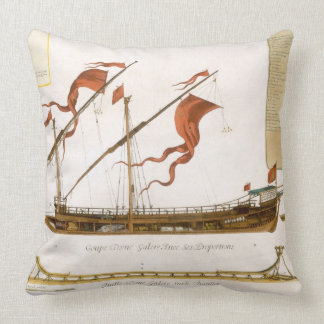 Types of shipping: a double-masted galley: section throw pillow